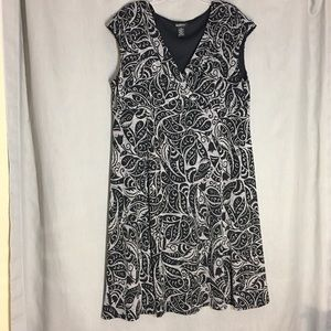 Glamour Black & Gray Floral Short Sleeve Dress 20W